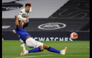 Tottenham's Son Heung-min shoots during the English Premier League match against Everton FC at the Tottenham Hotspur Stadium in London, England, yesterday.