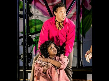 David Heron and Patrice Foster as lord and lady Montague in 'Romeo and Juliet' at the Shakespeare Festival of St Louis.